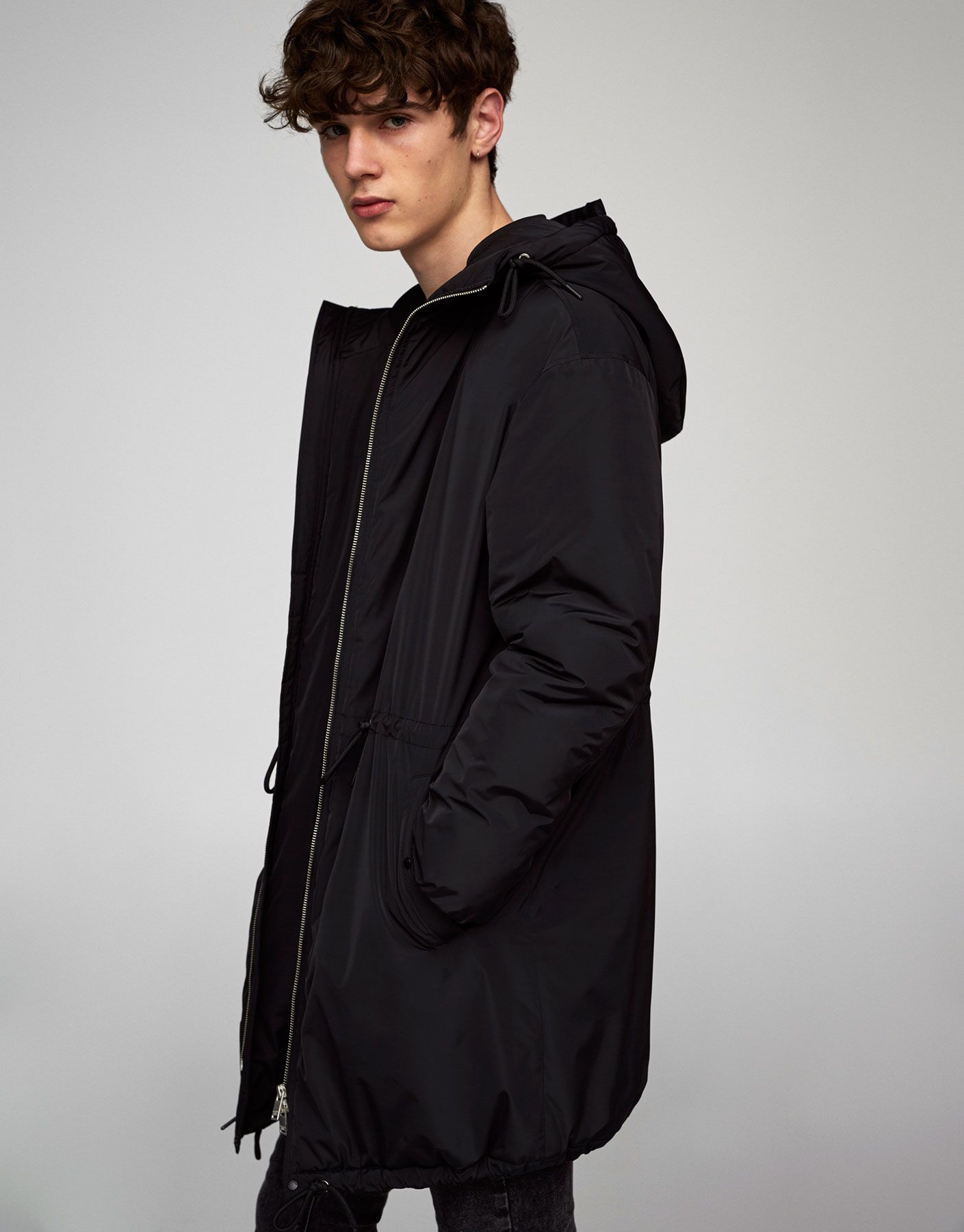 Hooded puffer parka Coats and jackets Clothing Man