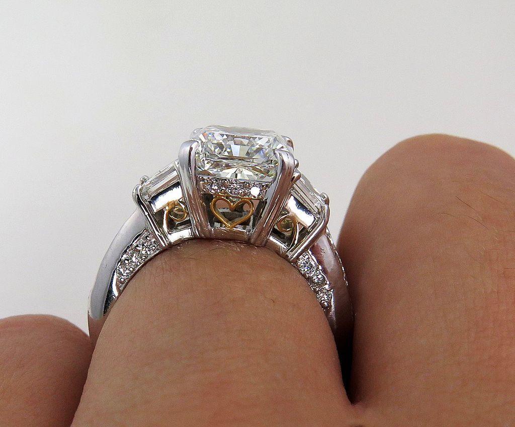 Ctw estate radiant cut and asscher cut diamond engagement ring