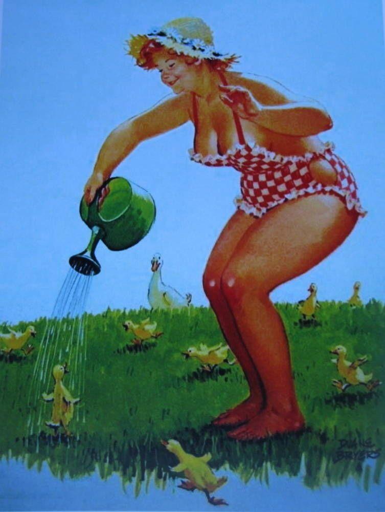 Hilda Watering Baby Ducks Duane Bryers | eBay