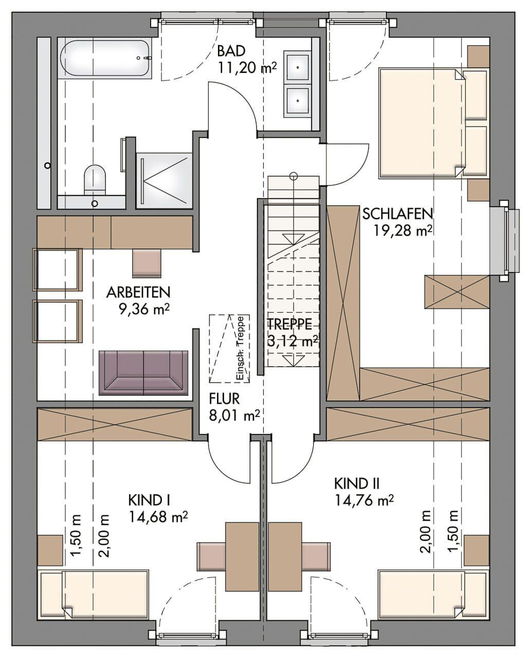 Einfamilienhaus Grundriss Dachgeschoss Länglich Mit Satteldach