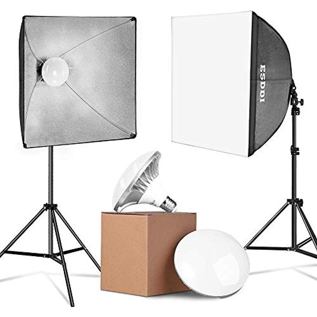 Esddi Update 900w Led Softbox Set Fotostudio 2x 50x50cm Studioleuchten Set Mit Lichtstativen Und 2x 6500k Energiesparende Fotolampe Fotostudio Set Lichtstativ