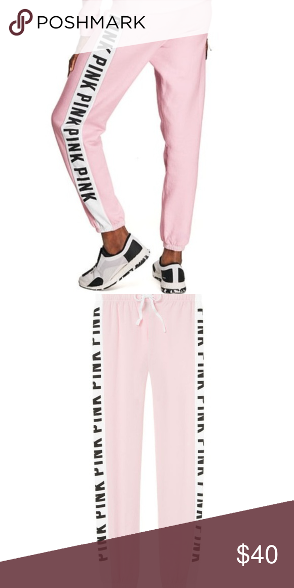 d3b07f30469e9 NWT VS PINK Classic Logo Joggers Size Large New With Tags ...