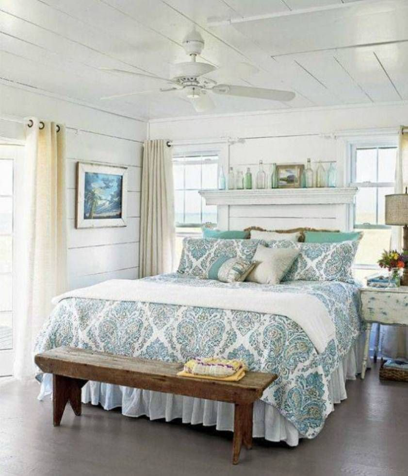 Elegant French Country Master Bedroom Designs With Blue Floral Bedding And Ceiling Fan Also Wooden Bench