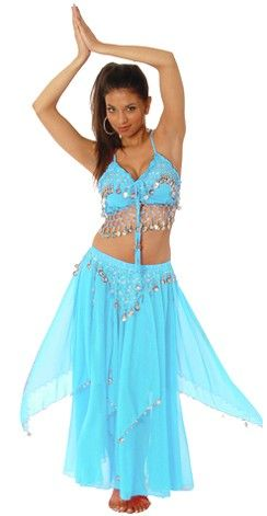 b39f2d4216c3 2-Piece Belly Dancer Costume with Coins - BLUE TURQUOISE   SILVER ...