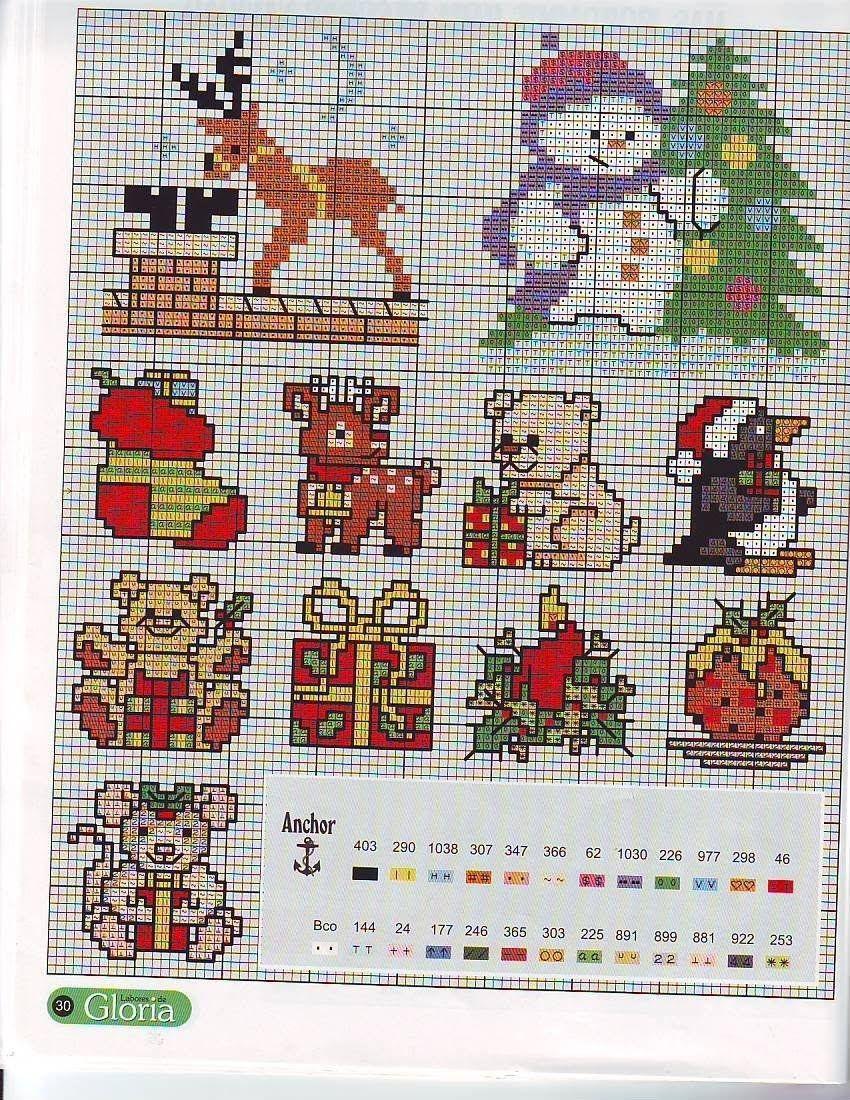 Схемы вышивок для новогодних открыток