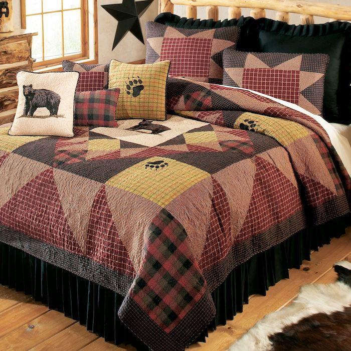 einfache Nähideen eine thematische Bettwäsche von Bären in brauner