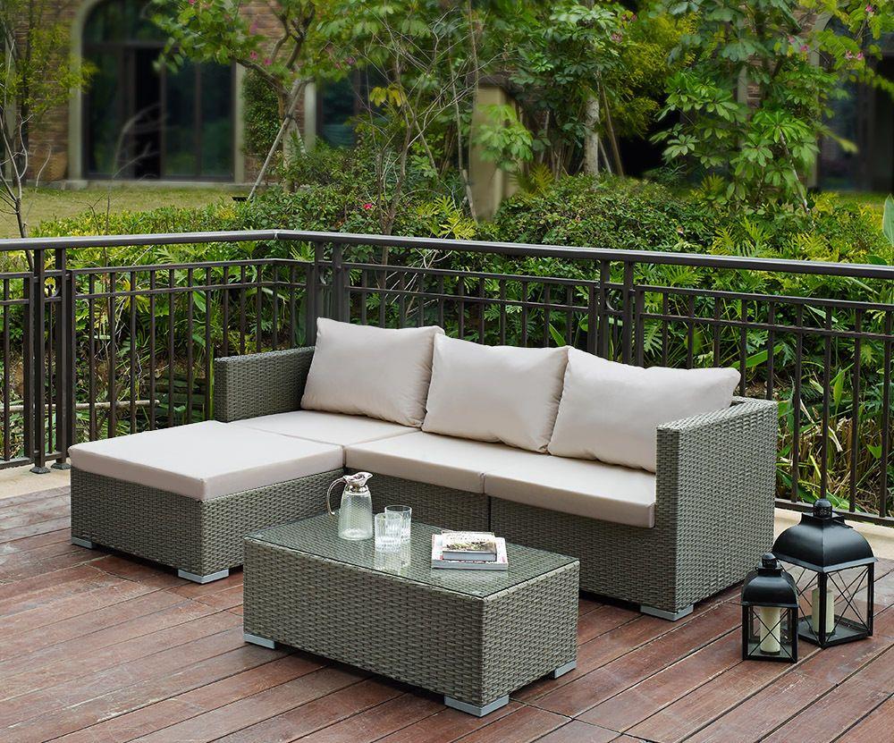 Details About Rattan Corner Chair Table Set Garden Furniture