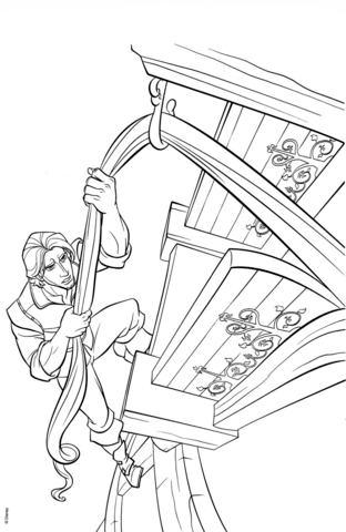 flynn rider climbs rapunzels tower coloring page from