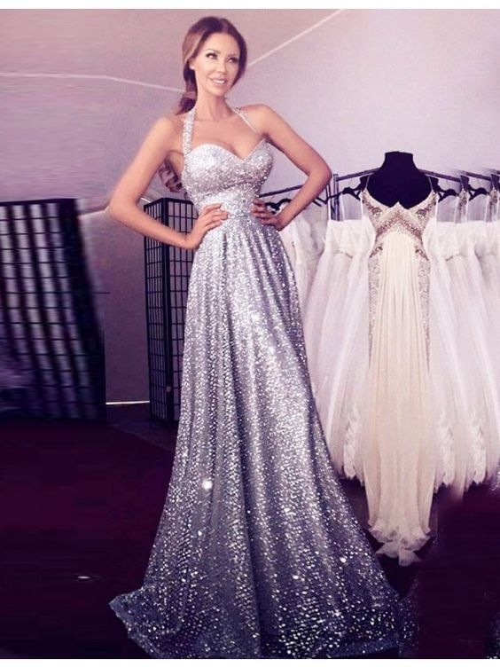 A-line Halter Sleeveless Floor-length Sequined Prom Dress | Gorgeous ...