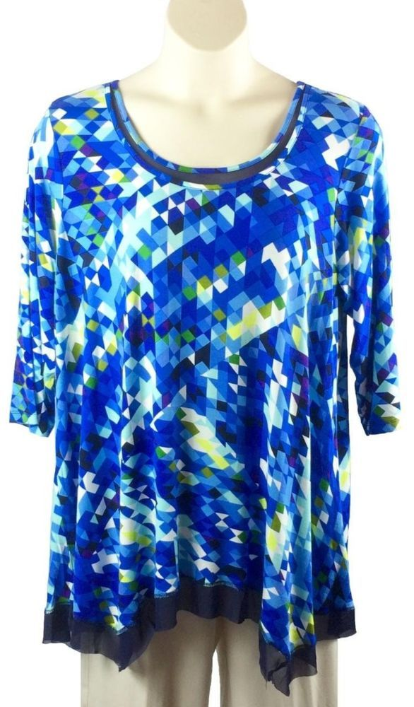 054f1d6e6def7 Womens Cupio Tunic Blouse Plus Size 3X Blue Geo Print Sharkbite Mesh Trim  Hem…