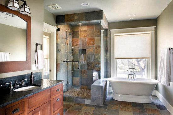 Slate Tile Bathroom Design, Pictures, Remodel, Decor and Ideas