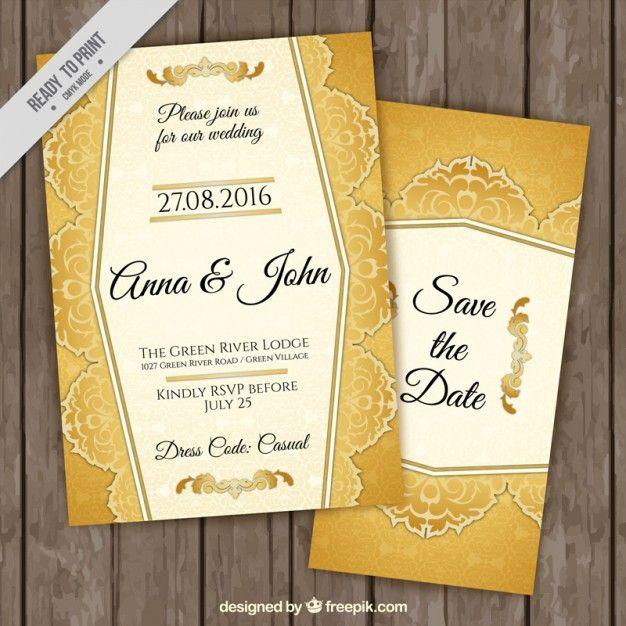 Stylish golden wedding invitations vector free download goodies stylish golden wedding invitations vector free download stopboris Images