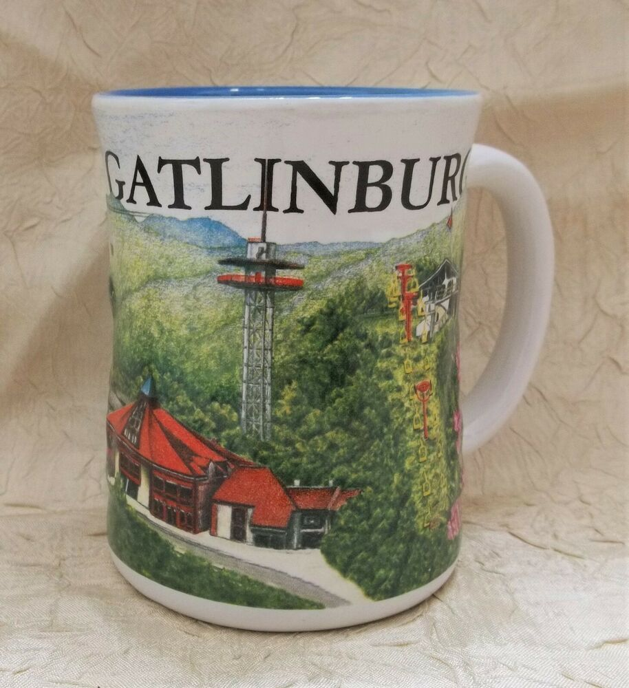 Gatlinburg Tennessee Embossed Coffee Mug W Famous Landmarks Cup Smoky Mountains Ebay In 2020 Famous Landmarks Gatlinburg Tennessee Mugs