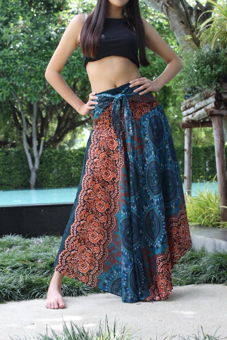 Plus Size Womens Maxi Skirt Long Skirt Gypsy Skirt Bow Tie | Etsy