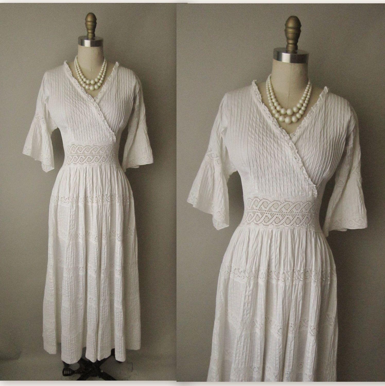 60s wedding dress  us Wedding Dress  Vintage us Bohemian White Pintucked Cotton