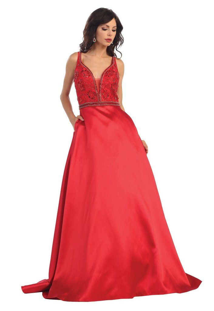 16fc72aaa9e3 Long Formal Prom Ball Gown Evening Dress Modern Designer - The Dress Outlet  - 1