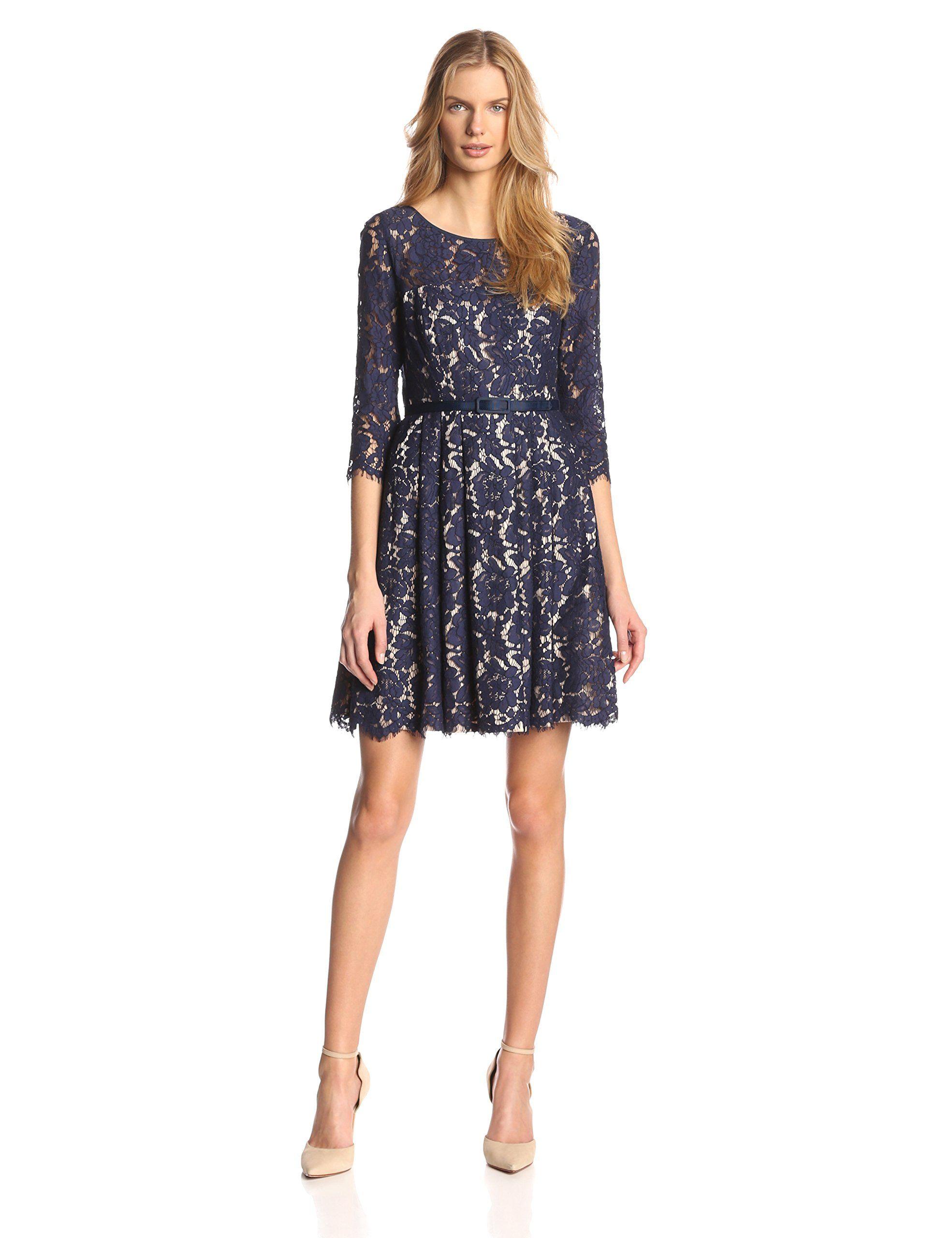 ed29a40d7207c Eliza J Women's Lace A-Line Dress, Navy, 6 at Amazon Women's ...