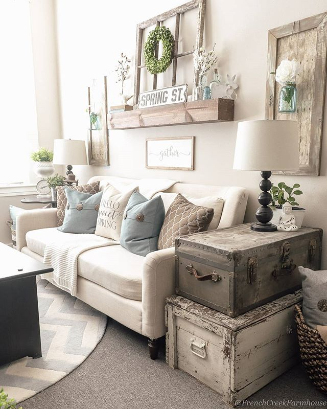 Ever Since I Moved My Chippy White Trunk To This Location In My Office I Just Can T Ge Farm House Living Room Farmhouse Decor Living Room Cottage Living Rooms