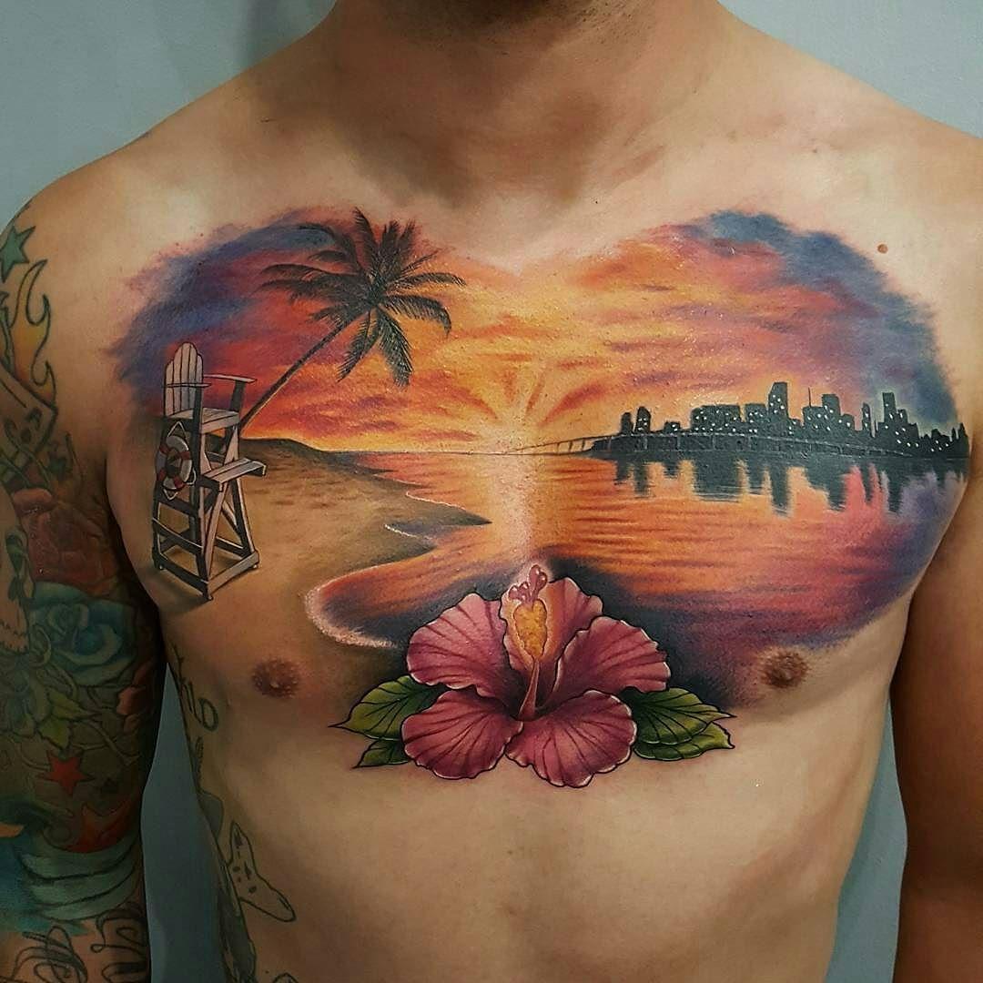 Amazing Sunset Chest Piece from nicksundstrom_tattoos