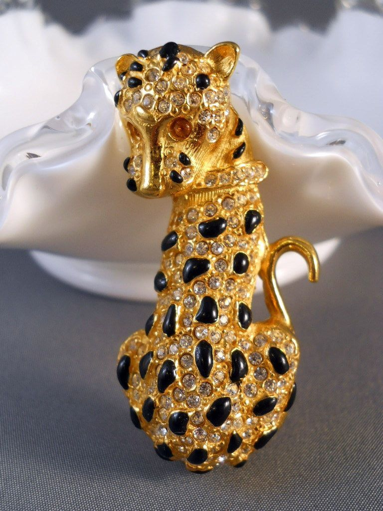 Vintage Spotted Cat Leopard Brooch Rhinestones SS    From Suzy's Timeless Treasures