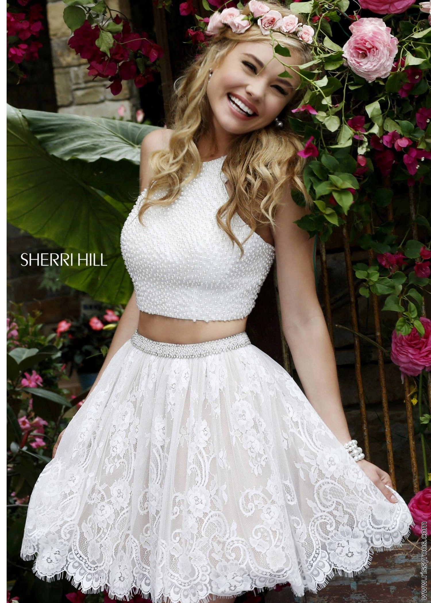 4a103f322d4 Sherri Hill 32313 Lace Two Piece Short Prom Dress in 2019