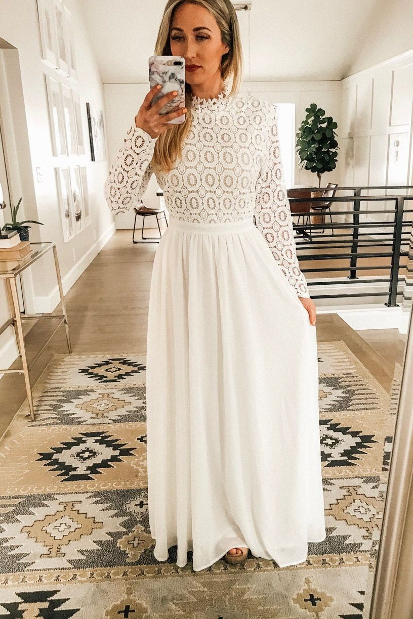 Long Sleeve White Maxi Dress Perfect Temple Dress Or Bridal Shower Dress White Bridal Shower Dress White Maxi Dresses Long Sleeve White Maxi Dress