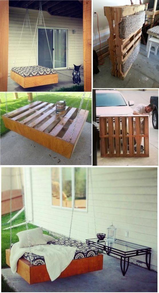 Hängebett selber bauen 44 DIY Ideen für Bett aus Paletten im Garten