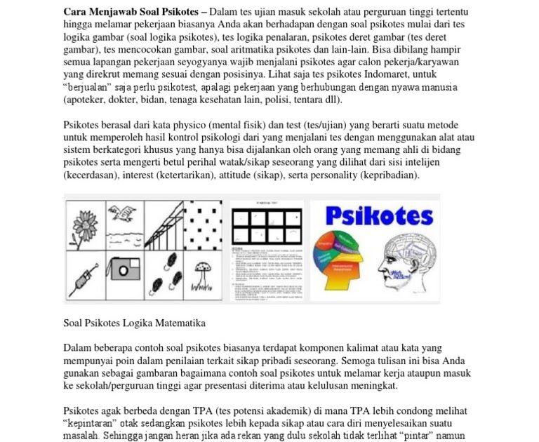Cara Menjawab Soal Psikotes 17 Contoh Soal Psikotes Kerja Gambar Matematika Logika Doc Jenis Jenis Soal Psikotes R Panduan Belajar Matematika Masuk Sekolah