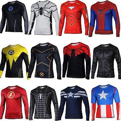Superhero Marvel Comics Costume Cycling Tee T-Shirts Long Sleeve Bicycle  Jersey c9c18e7fb