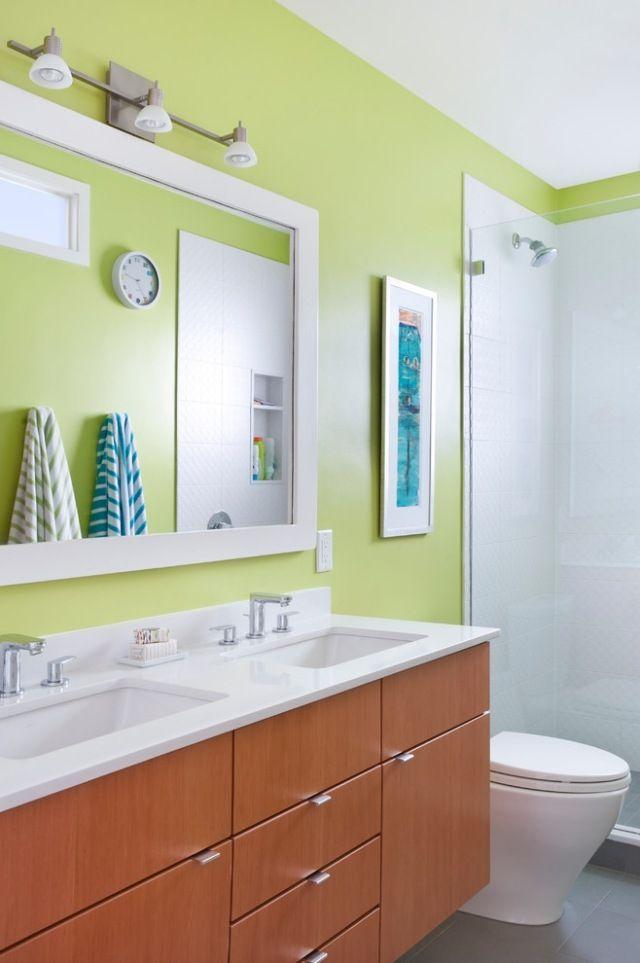 Farbe Badezimmer Grün Wasserabweisend Doppelwaschtisch Holzfronten ... Gelb Grun Wandfarbe