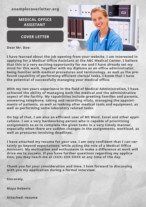 If you want to perform huge administrative tasks, then you can - cover letter for medical office