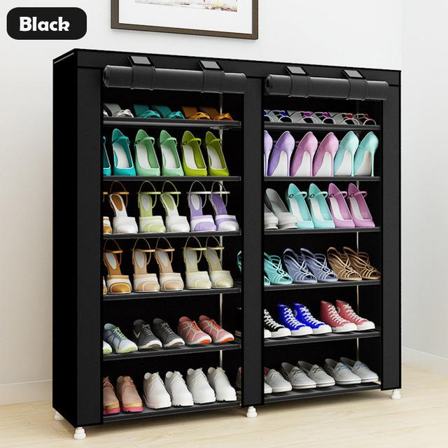 Shoe Racks And Organizers Gorgeous 433Inch 7Layer 9Grid Nonwoven Fabrics Large Shoe Rack Organizer Design Inspiration