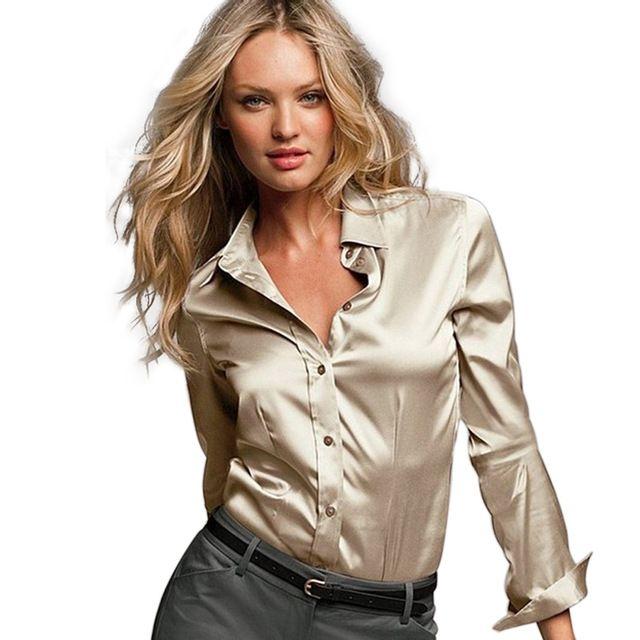 4abcbac2c1b93 S-xxxl mujeres satén de seda blusa botón damas de satén de seda blusas  camisa blanca negro oro rojo de manga larga de raso blusa top 8005