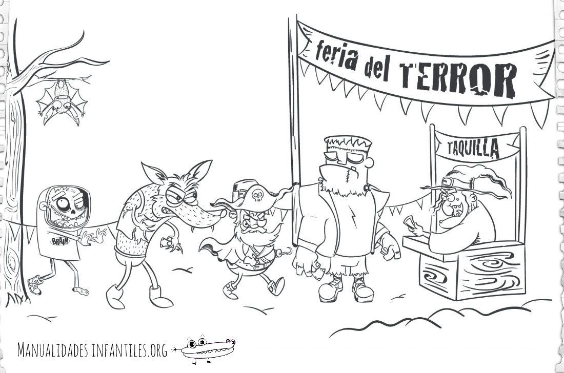Dibujo de la feria del Terror | Dibujos del, Dibujos de y La feria