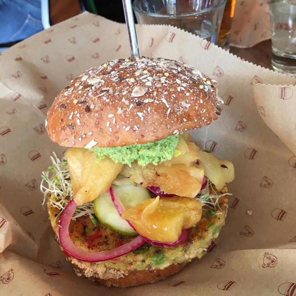Veggie Burger Spotlight Farmer S Quinoa Veggie Patty On Sprout Bun From Bareburger In Nyc Veggie Burger Vegan Nyc Vegan Restaurants