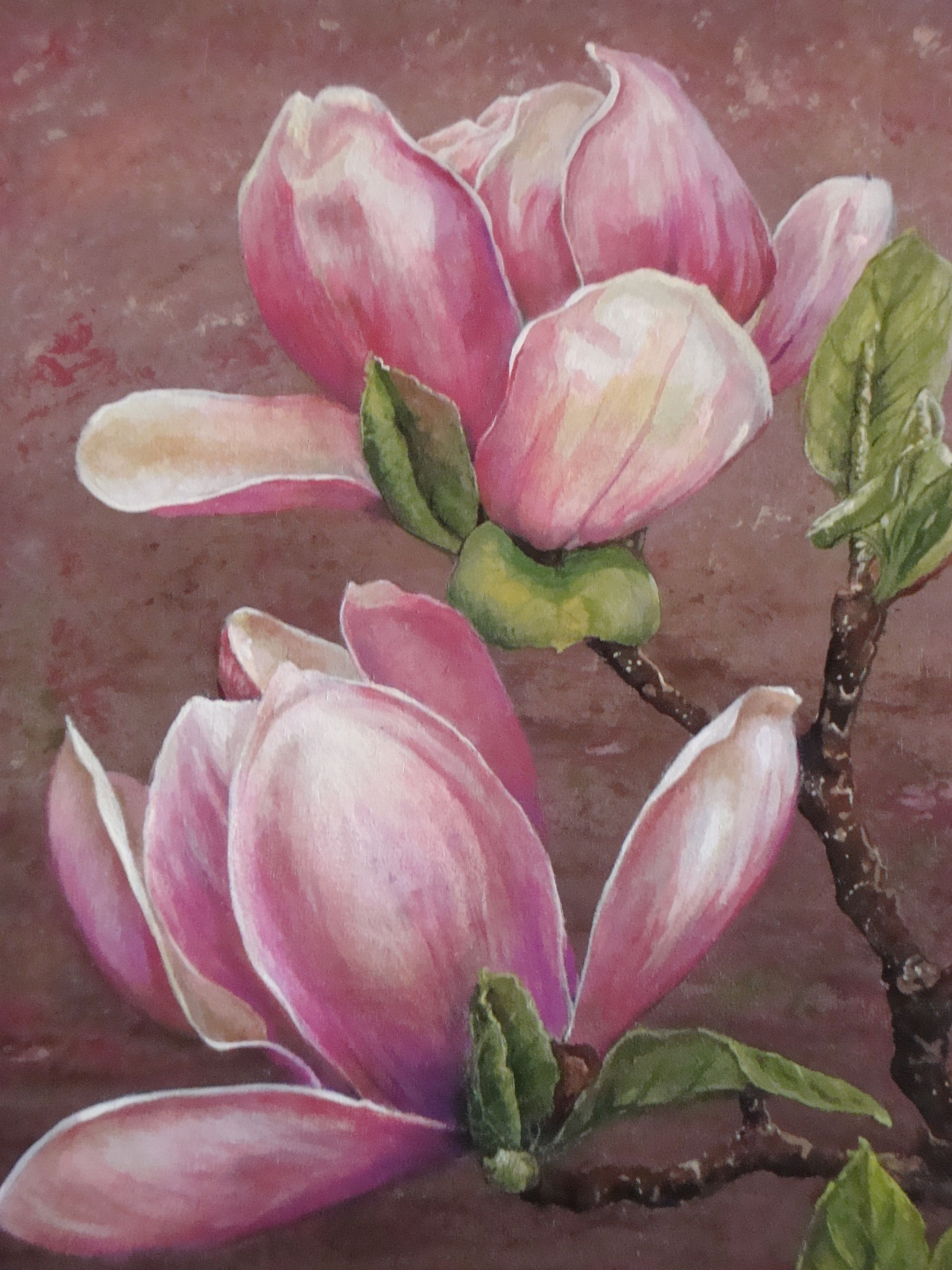 Life Size Magnolias Painted On A Small Side Table Flower Painting Magnolia Paint Floral Painting