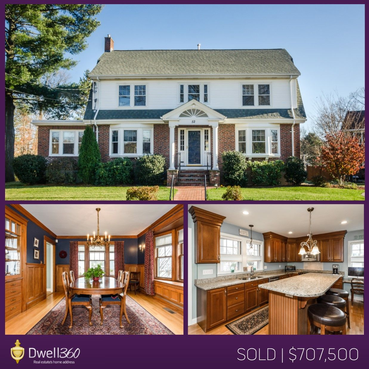 Sandra Siciliano, Realtor listed and sold this stunning center entrance Colonial in Waltham! #sold #Waltham #realestate #Dwell360 #SandraSiciliano #REALTOR