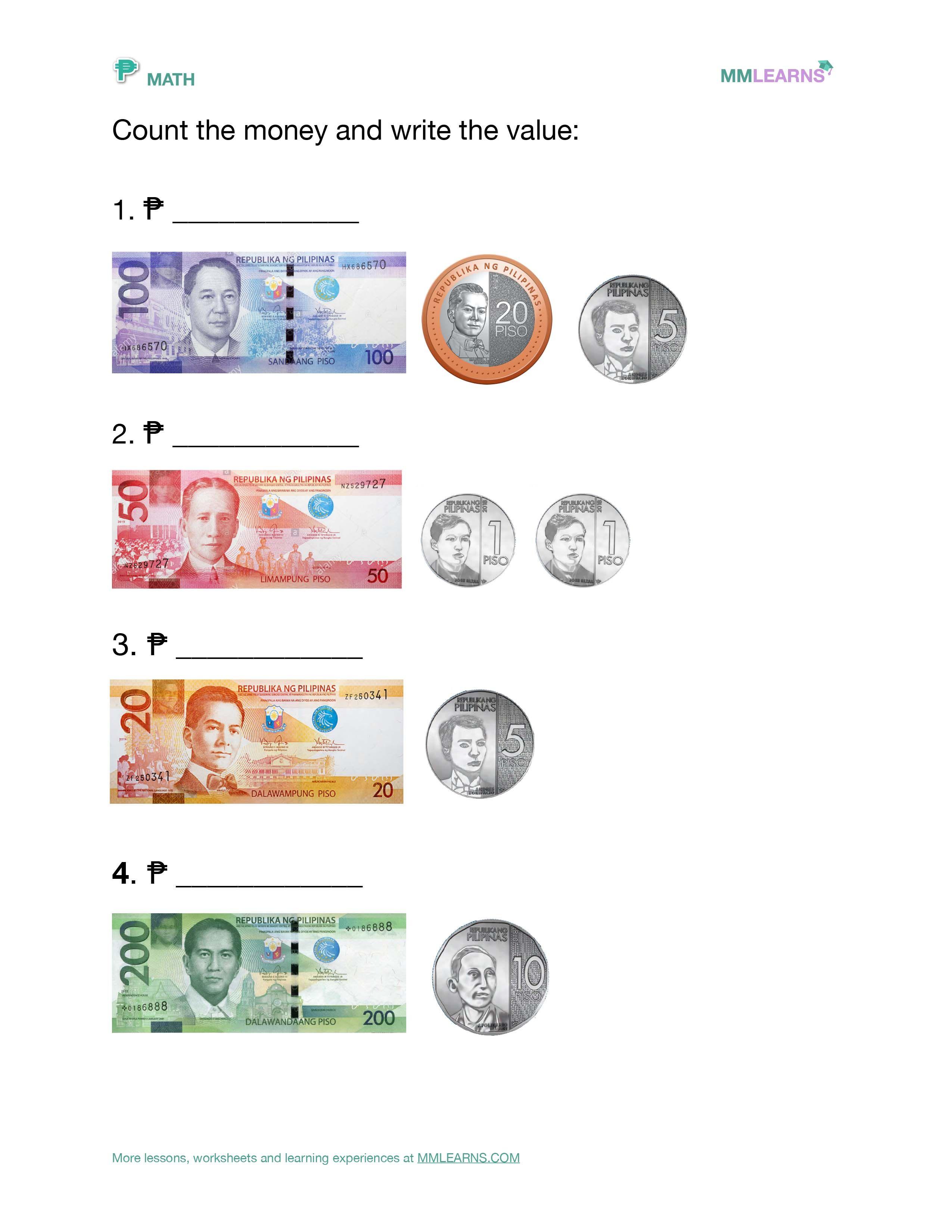 Philippine Money Worksheet   Printable Worksheets and Activities for  Teachers [ 3300 x 2550 Pixel ]
