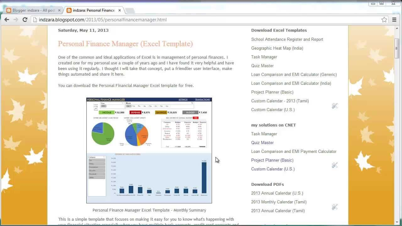 Personal Finance Manager (Excel template) Personal