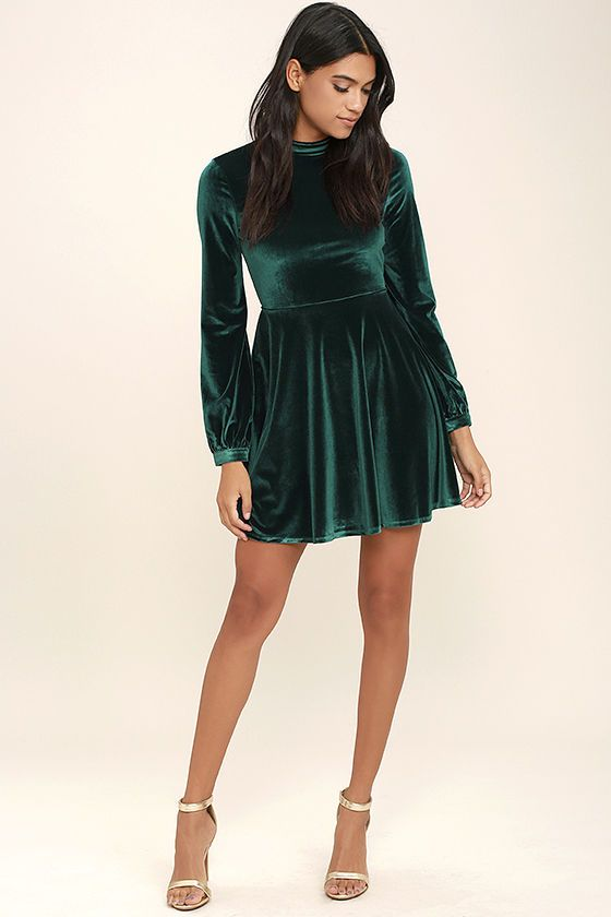Embrace The Present Forest Green Velvet Skater Dress Pretty