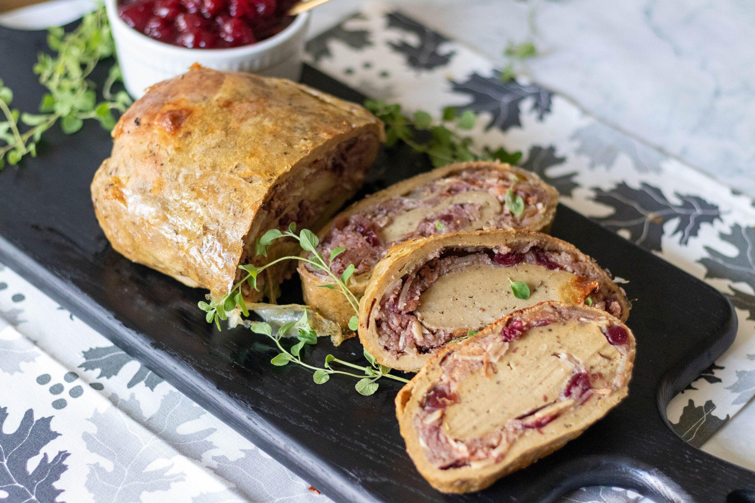 Vegan Cranberry Stuffed Turkey Roast 86 Eats In 2020 Food Processor Recipes Vegan Turkey Roasted Turkey