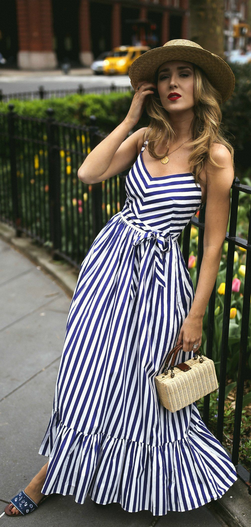 30 Dresses In 30 Days What To Wear To A Picnic Navy And White Stripe Maxi Dress Embroidered Navy Slides Small Woven Fashion Dresses Striped Maxi Dresses [ 2105 x 1002 Pixel ]