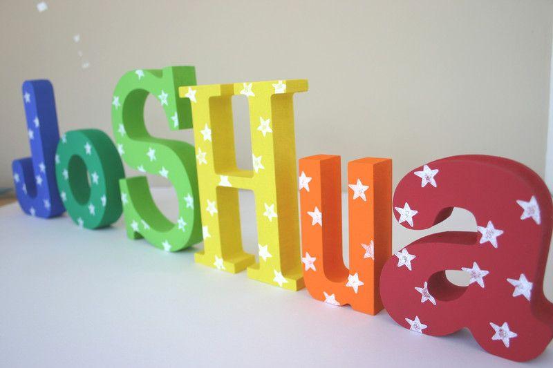 Holzbuchstaben holzbuchstaben namen baby ein designerst ck von meandmarie bei dawanda - Namen buchstaben kinderzimmer ...