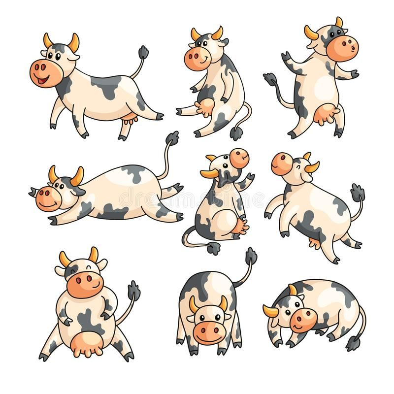 Funny Spotted Cows With Different Emotions In Various Poses Isolated On White Funny Spotted Cows With Di Cow Cartoon Images Cartoon Animals Different Emotions