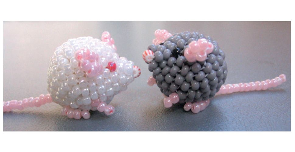 3-D seed bead pink parakeet