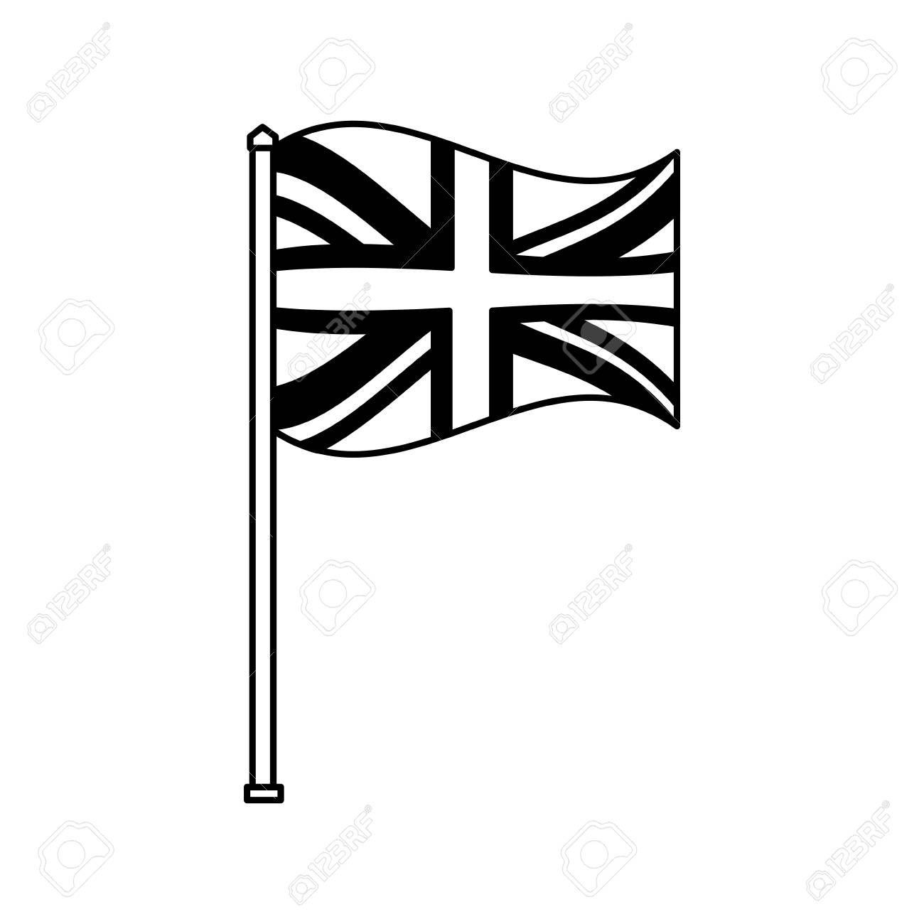 United Kingdom Flag In Pole National Symbol Vector Illustration Black And White Affiliate Pole N United Kingdom Flag National Symbols Design Inspiration
