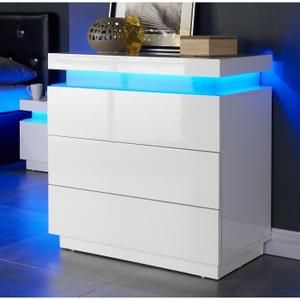 COMMODE DE CHAMBRE FLASH Commode 75 cm avec LED multicolore - Blanc b