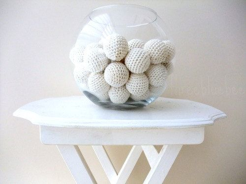 Big White Balls 6Pcs (No Holes) Wedding / Decoration / Vase Filler / Basket Filler / Easter / DIY / Baby Teething / Pet Toy / Easter Egg & White crochet decorative balls - simple and pretty! | Creative House ...