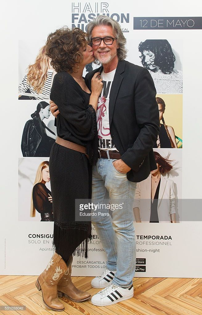Stylist Alberto Cerdan and actres Cristina Alarcon attend the 'Hari Fashion Night' photocall at Rizo's store on May 12, 2016 in Madrid, Spain.