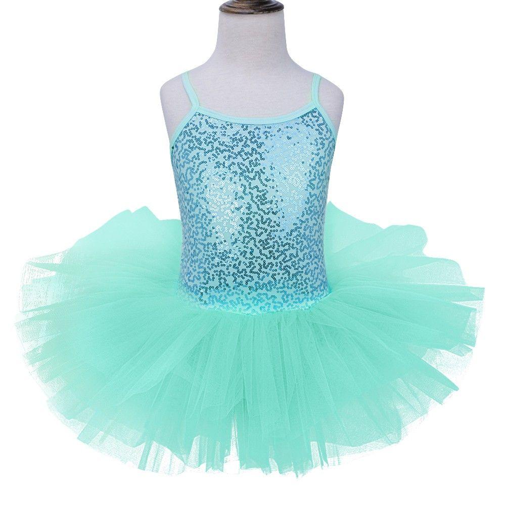 Kids Girls Ballet Tutu Dress Sequins Gymnastics Leotard Dance Sleeveless Costume
